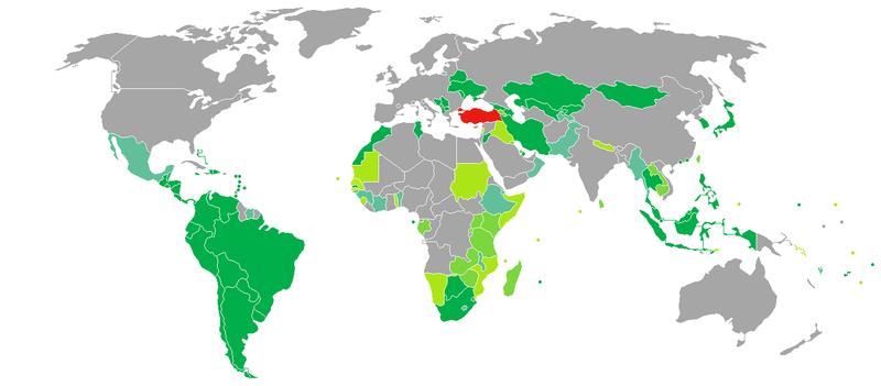 کشور های بدون ویزا برای شهروند ترکیه ترکیه